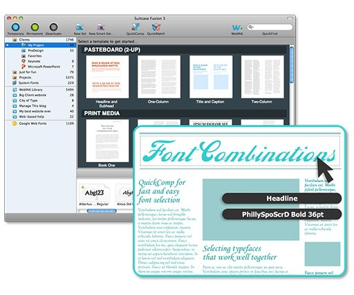 Extensis Suitcase Fusion 5 helps designers find font pairs