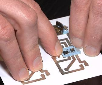 Microsoft uses conductive inks to make a home inkjet printer print circuit boards onto photo paper
