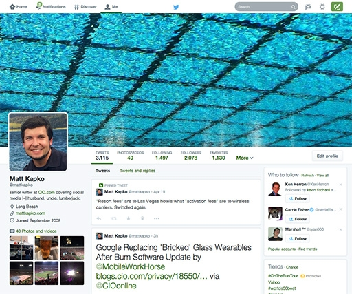 How to improve a new Twitter profile page
