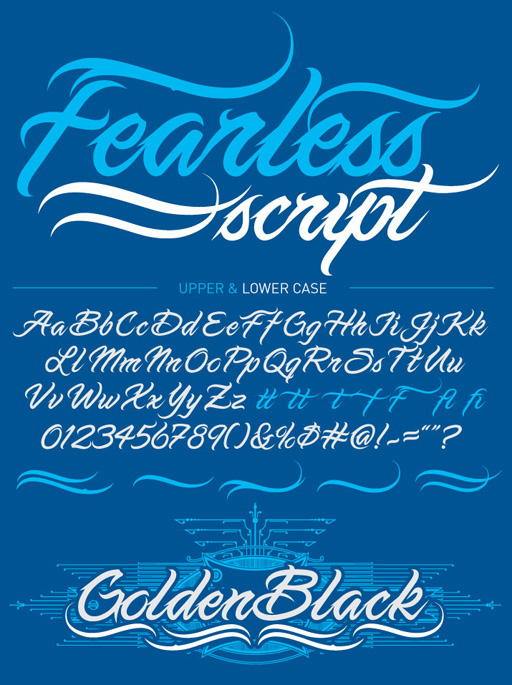 aaefc7e6b6856 Fearless Script is a tattoo font created by illustrator Chris Park, best  known for producing kick-ass rock illustrations under the moniker of Pale  Horse ...