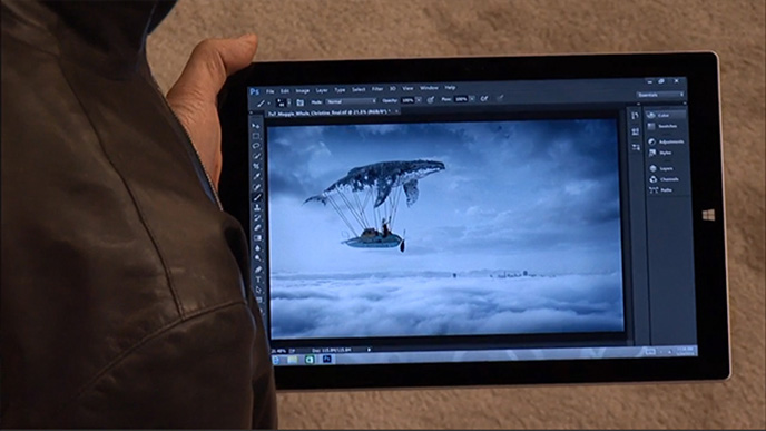 photoshop cc update adobe shows touch version of photoshop running on the microsoft surface pro. Black Bedroom Furniture Sets. Home Design Ideas