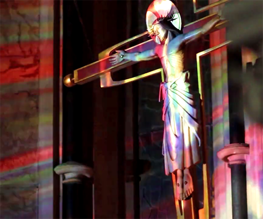 Artist creates a geometric rave in a chapel for The House of St Barnabus