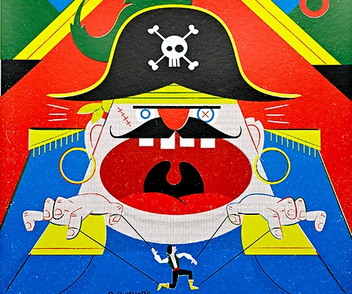 This wonderful poster for Mike Leigh's ENO production of The Pirates of Penzance is by his illustrator son Toby
