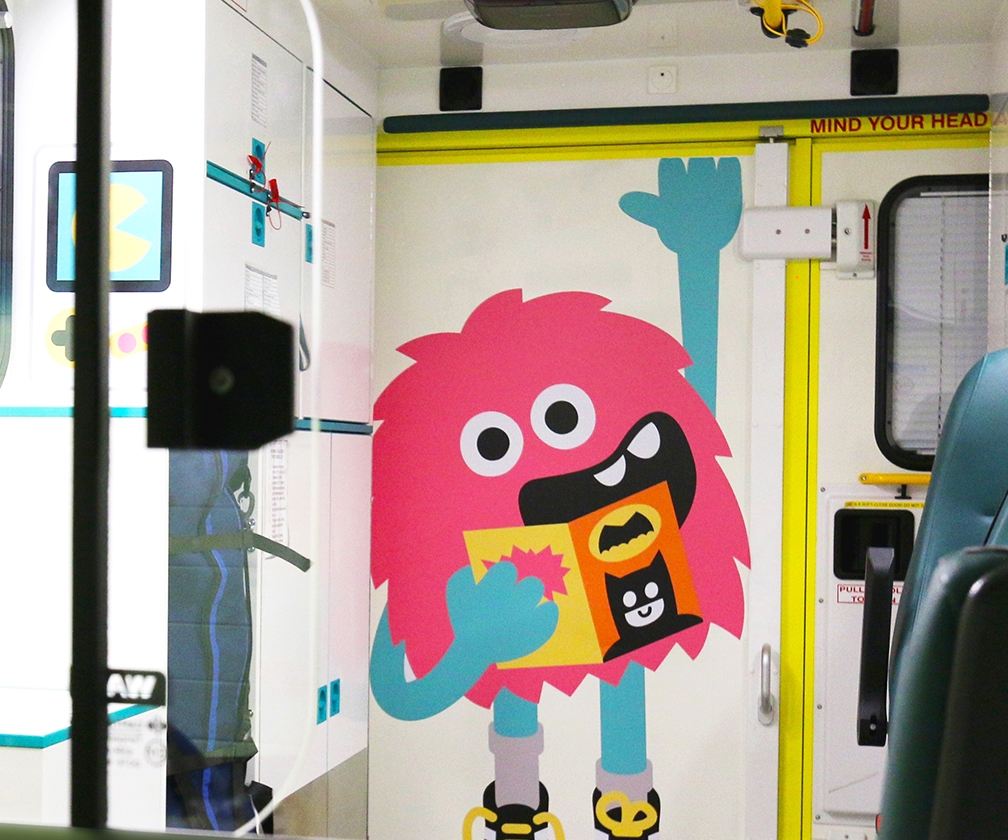 Tado's playful characters brighten up these ambulances for children