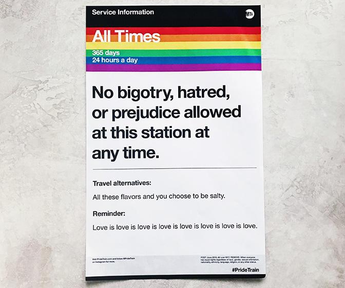 These New York Pride posters humorously rework subway posters commuters all aboard the PRIDE Train