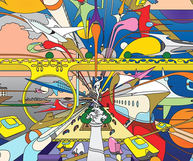 Illustrator Edward Monaghan has turned children's and adult's visions of the future into psychedelic art