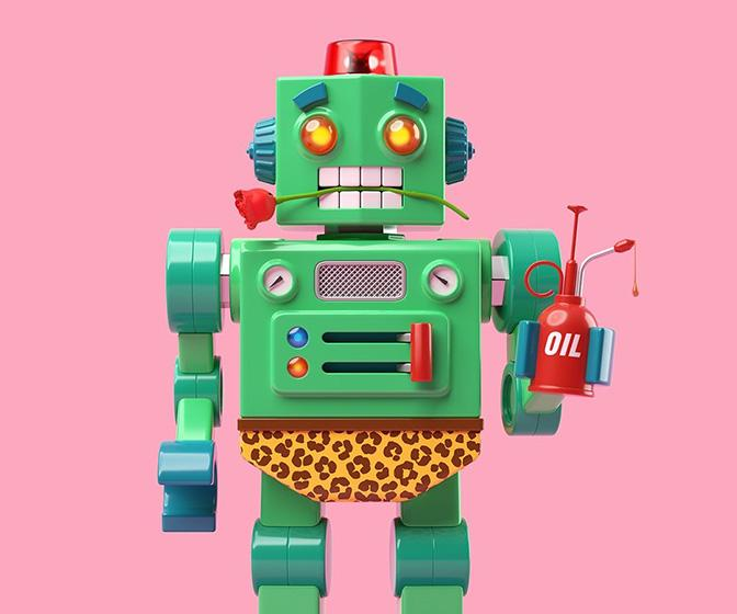 These randy robot illustrations by AJ Jefferies come from a surprising source