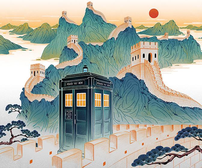 Feifei Ruan's Doctor Who promo art shows the TARDIS in classical Chinese landscapes