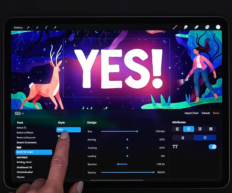Procreate's 2019 update lets you add text to your work - and animate layers instantly