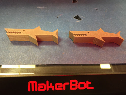 MakerBot 3D printer shark paperclip