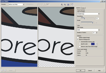 border=0 /><BR></div> </p> <p> In response perhaps to Adobe's LiveTrace feature in CS 2, CorelDraw now includes bitmap tracing, courtesy of a fully integrated PowerTrace module (above). This doesn't match up to the options and control offered by Adobe's smart new tool, but it's quick and easy to use. It allows a fine level of control over the colour palette in vector artwork, and offers support for spot colours. Sadly, vector animation is a lost cause for the suite, as the previously included Corel RAVE component has fallen by the wayside. </p> <p> Photo-Paint, the component that takes on Photoshop, is armed with enhancements to image adjustment and cut-out tools. These are to be found in Lab dialogs that provide a before-&-after preview of the process. Both are useful for image editing, but while the Image Adjustment lab again doesn't quite match up to its Adobe equivalent, the Cutout lab (below) doesn't have an integrated rival in Photoshop. </p> <p> <div class=floatedimage><img src=