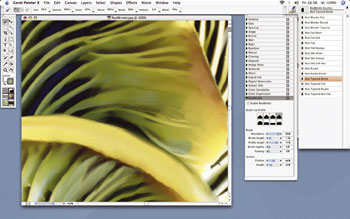 border=0 /><BR></div> </p> <p> Painter's top new features as touted by Corel are RealBristle painting and Divine Proportion. RealBristle (above) is an attempt to further replicate the interaction between a brush and a canvas. Put simply, when using RealBristle brushes, the hairs bend and spread out.  </p> <p> RealBristle's value to professionals cannot be overstated when used in conjunction with a pressure-sensitive graphics tablet. Perfect for mimicking the inherent inaccuracies involved in working with physical tools and wet paint in the real world, RealBristle goes some way towards adding a degree of complexity to digitally produced art.  </p> <p> As you'd expect, brushes can be quickly customized to perform as required. The addition of the RealBristle brushes does not, however, indicate the deprecation or removal of pre-existing brush sets such as Artists' Oils, Sumi-e, or Impasto. </p> <p> <div class=floatedimage><img src=