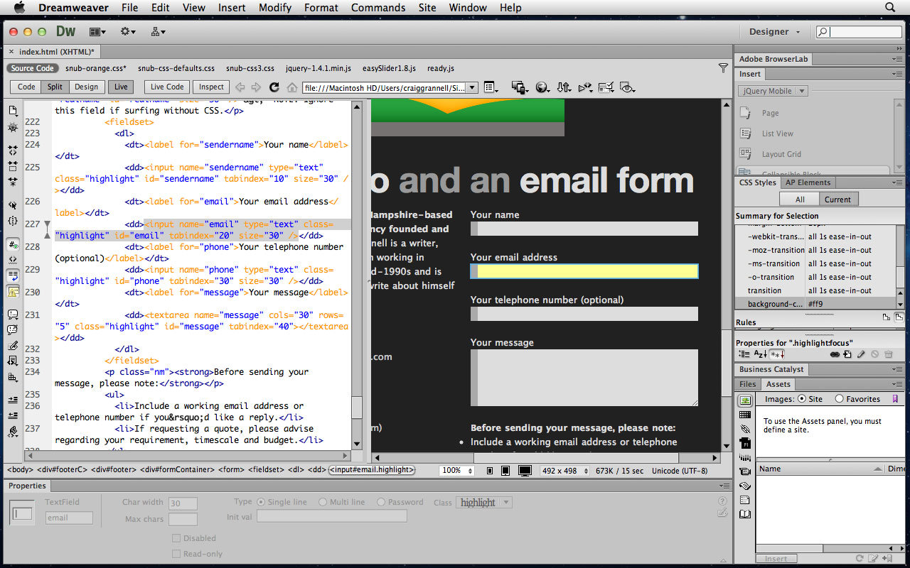 Dreamweaver tutorial: Use CSS3 transitions for form