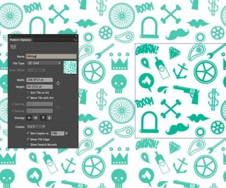 Create seamless repeating patterns using Illustrator CS6's new tools