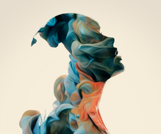 Alberto Seveso's abstract artworks fill silhouettes with ribbons of light