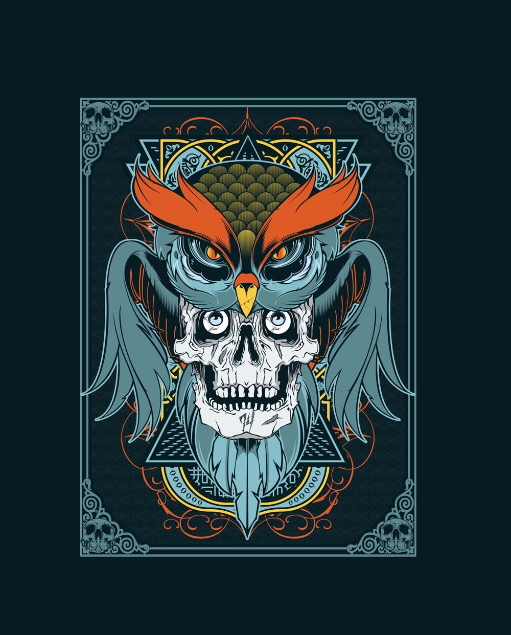 7b900947 Adobe Illustrator & Photoshop tutorial: T-shirt design in Illustrator using  owl and skull vector art