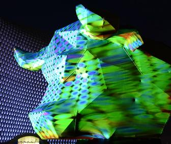 Josh Harker's projection-mapped 3D Taurus Geodesica brings disco light show to Birmingham