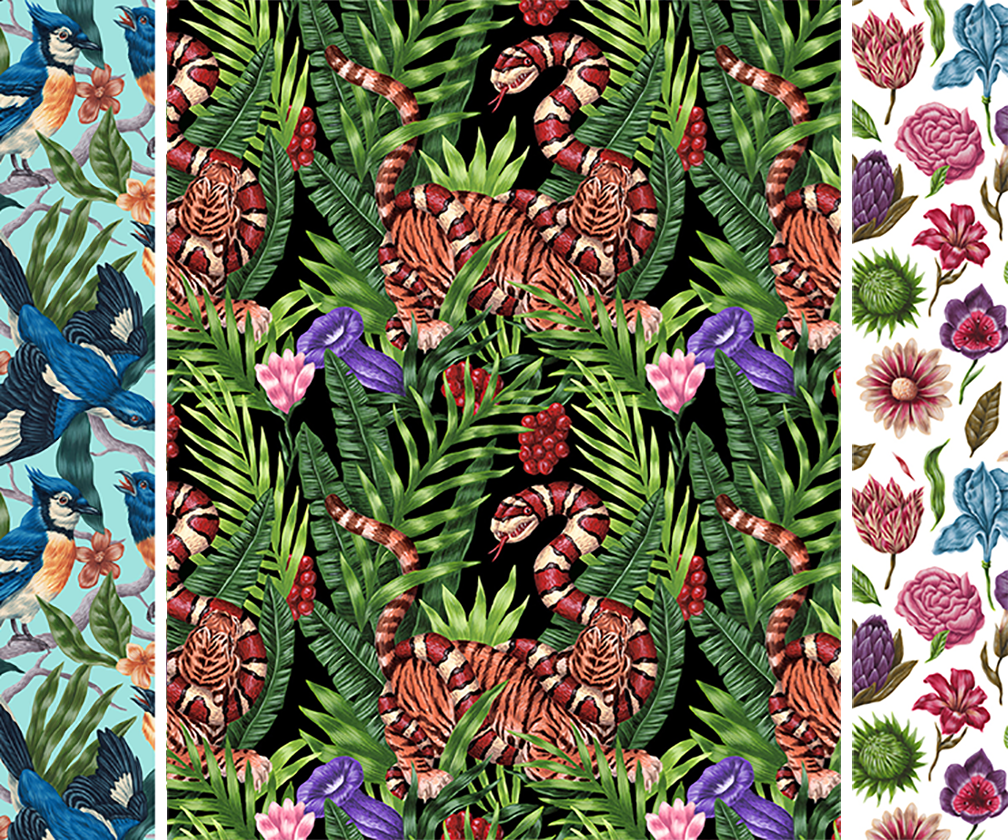 Saddo's beautiful wallpaper patterns are packed with nature's wonders