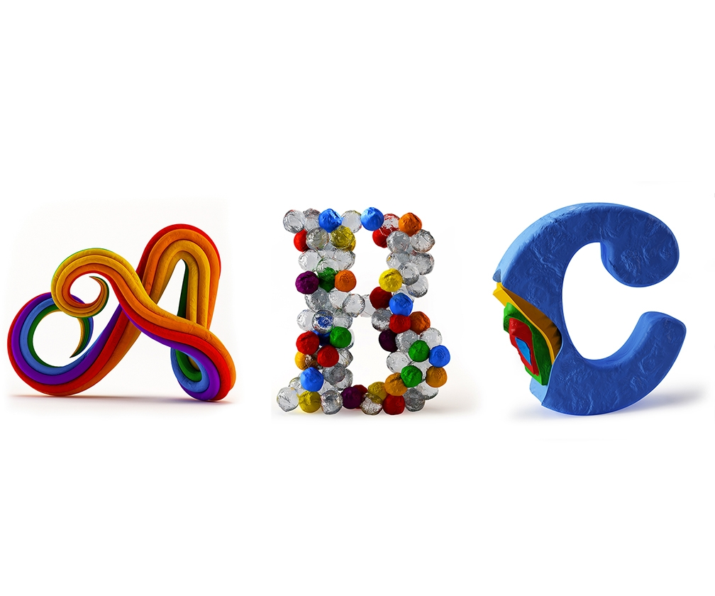 Each letter in this plasticine alphabet is playful in its own way