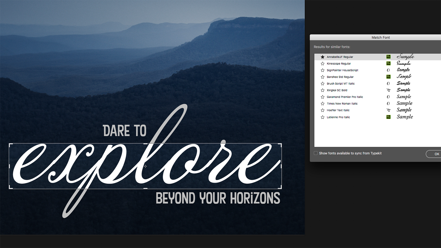 Photoshop tutorial: How to use Photoshop's new Match Font tool to