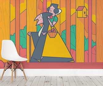 These wonderful wallpaper illustrations put a fresh spin on Little Red Riding Hood and Snow White