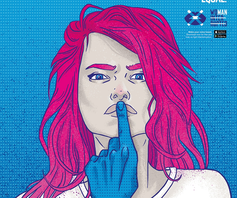 Illustrated posters and an app call out men for 'manterrupting' women