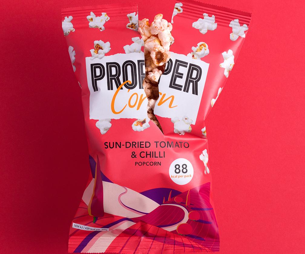 Kelly Anna, Billy Clark and other artists playfully illustrate Propercorn's exotic popcorn flavours
