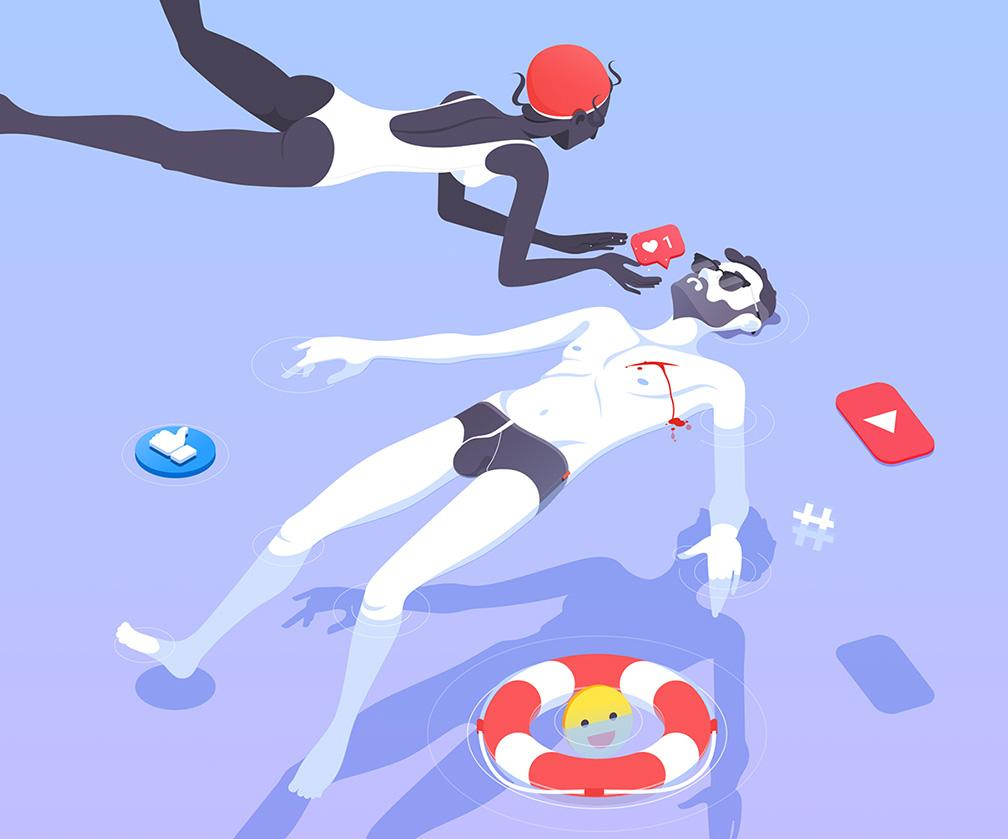 These Super-talented Illustrators are Exploring our Obsession with Social Media