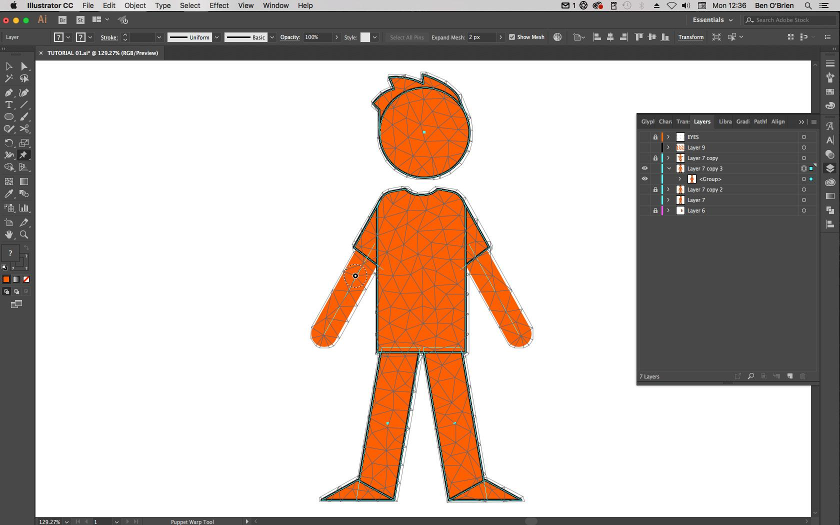 Adobe Illustrator tutorial: How to use Puppet Warp tool in
